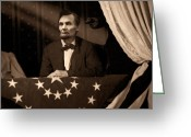 Military Pictures Greeting Cards - Lincoln at Fords Theater Greeting Card by Ray Downing