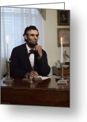 Military Pictures Greeting Cards - Lincoln at his Desk 2 Greeting Card by Ray Downing