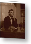 Military Pictures Greeting Cards - Lincoln at his Desk Greeting Card by Ray Downing