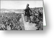 Abraham Lincoln Greeting Cards - Lincoln Delivering The Gettysburg Address Greeting Card by War Is Hell Store