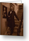 Military Pictures Greeting Cards - Lincoln Descending Staircase Greeting Card by Ray Downing