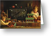 Family Time Greeting Cards - Lincoln Logs Greeting Card by Greg Olsen