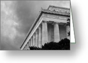 Lincoln Memorial Photo Greeting Cards - Lincoln Memorial - black and white - Washington DC Greeting Card by Brendan Reals