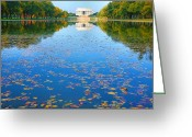 Seasonal Greeting Cards Greeting Cards - Lincoln Memorial and Reflecting Pool I Greeting Card by Steven Ainsworth