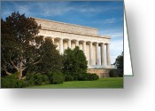 Cities Greeting Cards - Lincoln Memorial and Tree I  Greeting Card by Steven Ainsworth