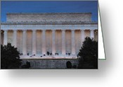 Cities Greeting Cards - Lincoln Memorial In The Evening Greeting Card by Steven Ainsworth