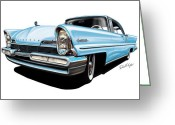 David Kyte Greeting Cards - Lincoln Premier in Baby Blue Greeting Card by David Kyte