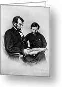 Personality Greeting Cards - Lincoln Reading To His Son Greeting Card by Photo Researchers