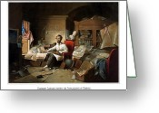 United States Presidents Greeting Cards - Lincoln Writing The Emancipation Proclamation Greeting Card by War Is Hell Store
