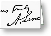 Autograph Photo Greeting Cards - Lincolns Autograph Greeting Card by Granger