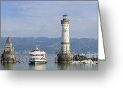 Trips Greeting Cards - Lindau harbor with ship Bavaria Germany Greeting Card by Matthias Hauser