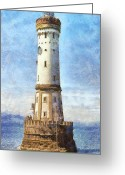 High Resolution Greeting Cards - Lindau Lighthouse in Germany Greeting Card by Nikki Marie Smith