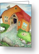 Up On The Roof Greeting Cards - Lindsays stucco cottage Greeting Card by Will Lewis