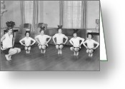12-13 Years Greeting Cards - Line Of Girls (7-12) Exercising With Bowls On Heads (b&w) Greeting Card by Hulton Archive