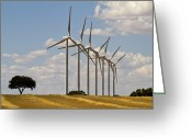 Windmill And Tree Greeting Cards - Line Of Windmills Greeting Card by Miguel Pereira