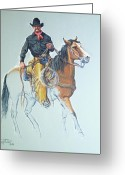 Bloomfield Greeting Cards - Line Rider Greeting Card by Randy Follis