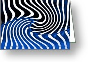 Lenght Greeting Cards - Linear Functions   Irregular Pattern II   Black and  Blue Greeting Card by Mark Hendrickson