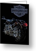 Harley Davidson Art Greeting Cards - Lined Dyna II Greeting Card by Ricky Barnard