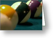 Cue Ball Greeting Cards - Lined Up Greeting Card by Karen Musick
