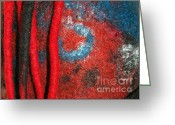 Black Tapestries - Textiles Greeting Cards - Lined Up Reds     Greeting Card by Alexandra Jordankova