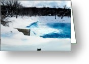 Black Cloud Greeting Cards - Linn Grove Dam Greeting Card by Julie Hamilton