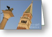 St Marc Greeting Cards - Lion and campanile. Venice Greeting Card by Bernard Jaubert