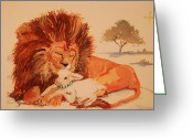 Nursury Greeting Cards - Lion and the Lamb Greeting Card by Lynn Beazley Blair