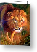 Lion Painting Greeting Cards - Lion at Sunset Greeting Card by Michael Durst
