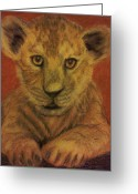 Mammals Pastels Greeting Cards - Lion Cub Greeting Card by Christy Brammer