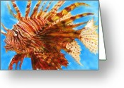 Representative Abstract Greeting Cards - Lion Fish Greeting Card by David Raderstorf