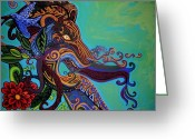 African Animals Painting Greeting Cards - Lion Gargoyle Greeting Card by Genevieve Esson