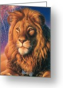 Fireworks Painting Greeting Cards - Lion Greeting Card by Hans Droog