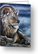 Lion Painting Greeting Cards - Lion Greeting Card by Ilse Kleyn