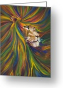 Lion Painting Greeting Cards - Lion Greeting Card by Kd Neeley