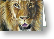 Big Cat Art Prints Greeting Cards - Lion King Greeting Card by Michelle Wrighton