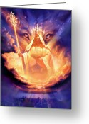 Lion Painting Greeting Cards - Lion of Judah Greeting Card by Jeff Haynie