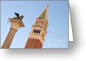 Italia Greeting Cards - Lion of Venice Greeting Card by Bernard Jaubert
