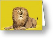 Drawing Pastels Greeting Cards - Lion painting Greeting Card by Setsiri Silapasuwanchai