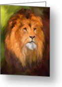 Wild Cat Greeting Cards - Lion Portrait Greeting Card by Jai Johnson