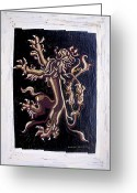 Big Cat Art Prints Greeting Cards - Lion Rampant Greeting Card by Genevieve Esson