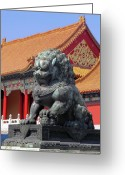 Forbidden City Greeting Cards - Lion Sculpture by Pagoda Greeting Card by Sally Weigand