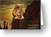 Prophetic Art Greeting Cards - Lion Watchman Greeting Card by Constance Woods