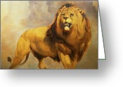 Lions Painting Greeting Cards - Lion  Greeting Card by William Huggins