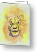 Jrr Greeting Cards - Lion yellow Greeting Card by First Star Art