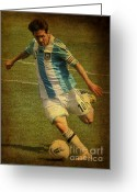 Kicking Football Greeting Cards - Lionel Andres Messi Argentine Footballer FC Barcelona  Greeting Card by Lee Dos Santos