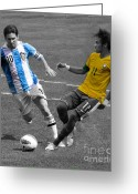Kicking Football Greeting Cards - Lionel Messi and Neymar Clash of the Titans at Metlife Stadium  Greeting Card by Lee Dos Santos