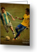 Kicking Football Greeting Cards - Lionel Messi and Neymar Junior Vintage Photo Greeting Card by Lee Dos Santos