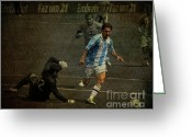 The Hulk Greeting Cards - Lionel Messi Breaking Raphael Cabrals Ankles  Greeting Card by Lee Dos Santos