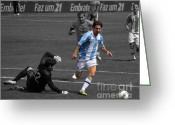 Kicking Football Greeting Cards - Lionel Messi the King Greeting Card by Lee Dos Santos