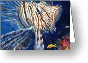Coral Reef Greeting Cards - Lionfish Greeting Card by Jennifer Belote